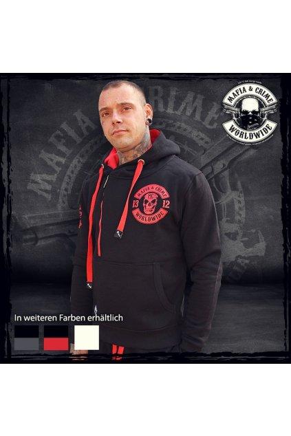 Pánská mikina Mafia & Crime 1312 Patch Hoodie schwartz rot obr1