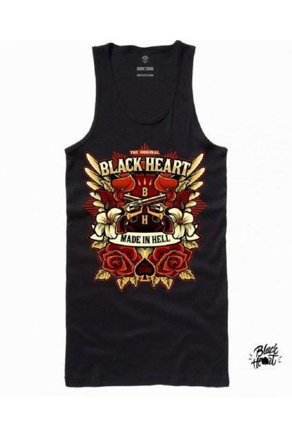 Dámské Tílko BLACK HEART GUN ROSE přední strana