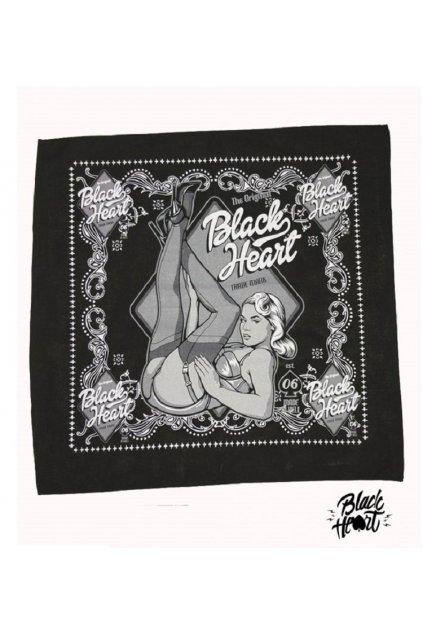 Šátek BLACK HEART SAMANTA 027-0002-BLK-ONE SIZE přední strana