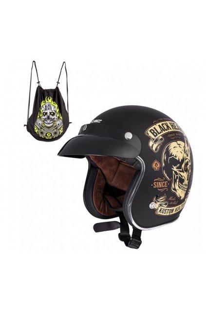 Moto přilba W-TEC V541 BLACK HEART DEVIL SKULL přední strana