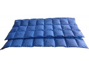 Péřová přikrývka 200x210 cm modrá s bílými peříčky