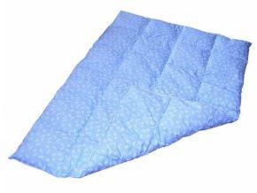 Péřová přikrývka 100x140 cm modrá s bílými peříčky