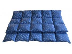 Péřová přikrývka 140x220 cm modrá s bílými peříčky
