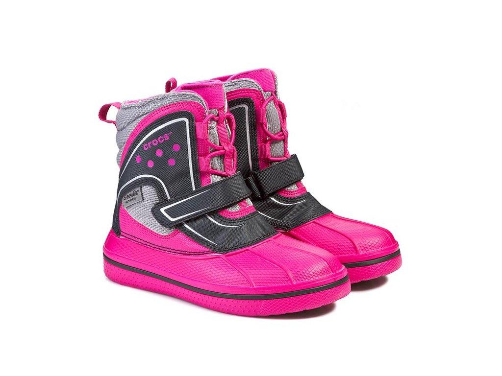 Crocs Allcast Waterproof Boot, candy pink/black, C9 (26)