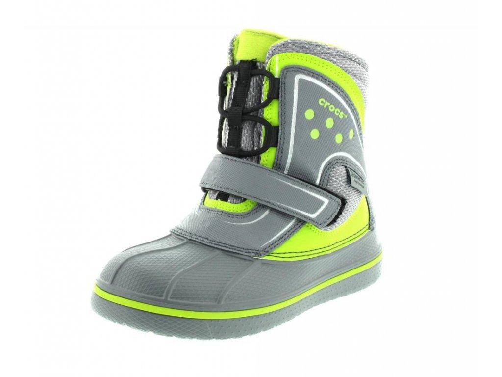 14169 crocs allcast waterproof boot charcoal volt green c9 26