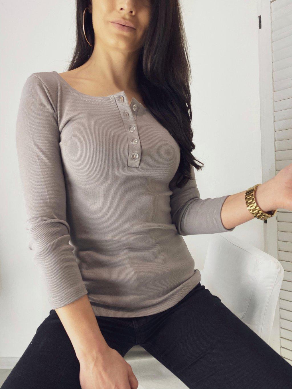 Elastické tričko s knoflíky Grey