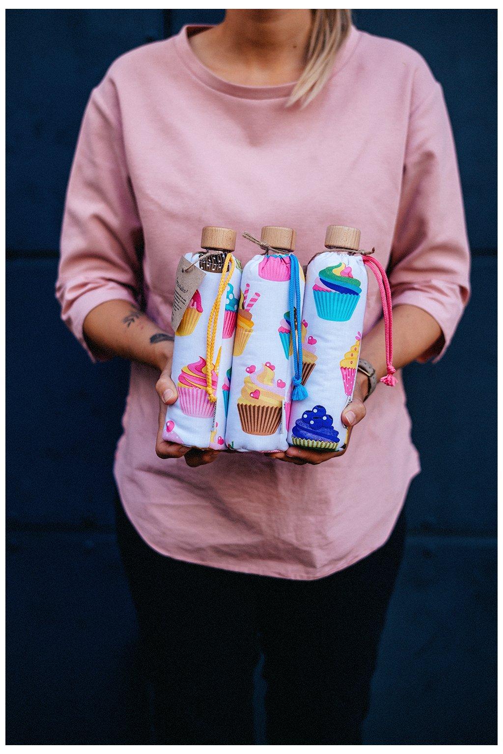 Zero waste skleněná lahev na pití - 350 ml