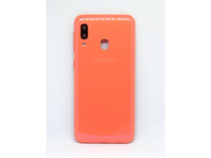 Samsung A20e (SM-A202F) - Kryt zadný + kryt fotoaparátu, farba oranžová  farba oranžová
