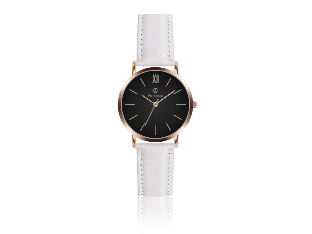 Dámské hodinky Rose Black White Leather