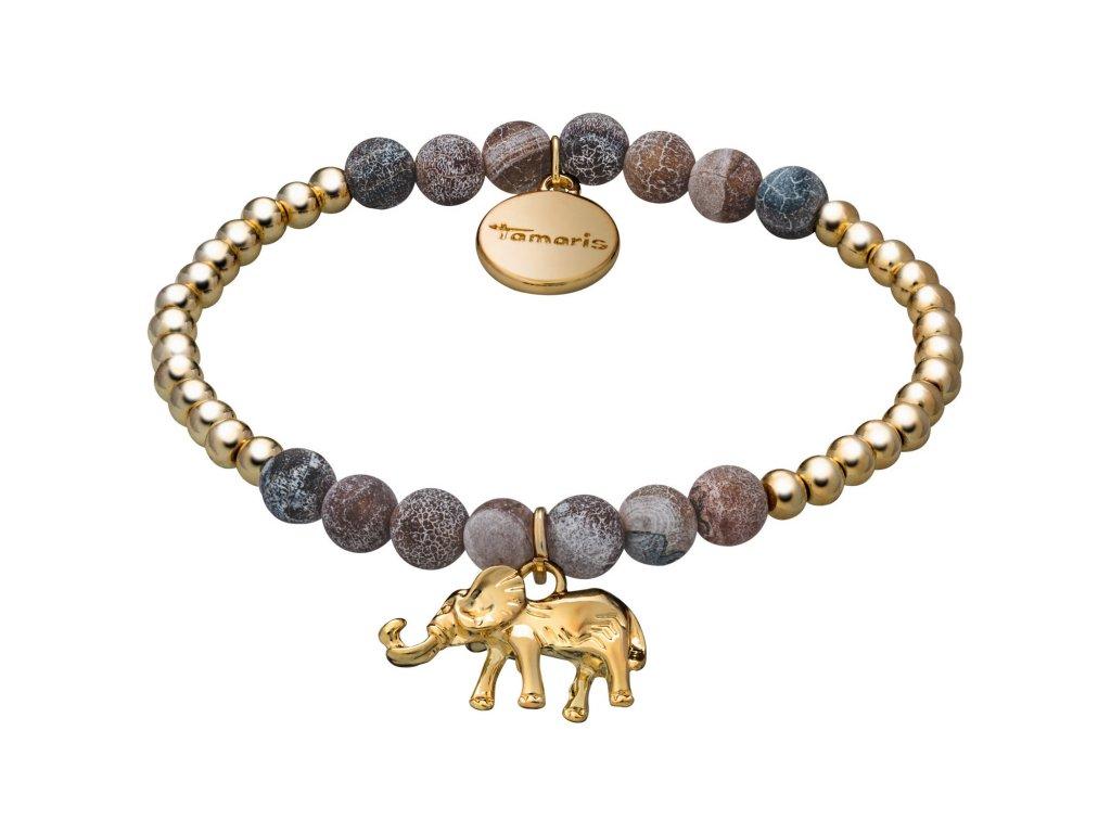Náramek Tamaris Babsy zlato-hnědé barvy s přívěskem slona