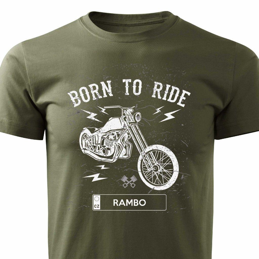 born to ride chopper rambo panske tricko cerne
