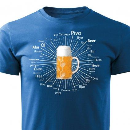 Pánské tričko Pivo kolem světa - modré