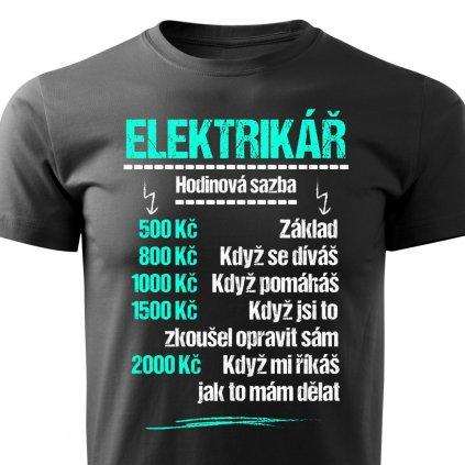 Pánské tričko Tričko Elektrikář - sazba - černé