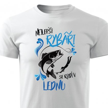 Pánské tričko Nejlepší rybáři se rodí v lednu - bílé