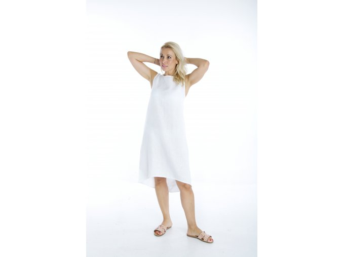 Šaty Nikol II 100% len - bílá