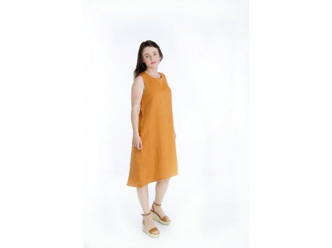 Šaty Nikol II 100% len - cihlová