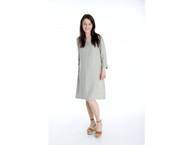 Šaty Anna 100% len - přirodní