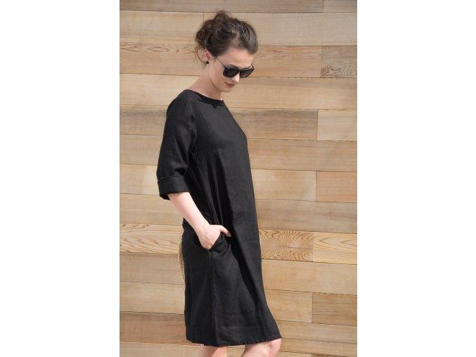 Šaty Jana 100% len - černá