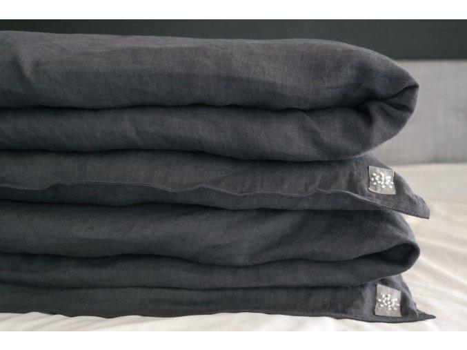 Povlak na přikrývku 100% len - černá (vymytá)