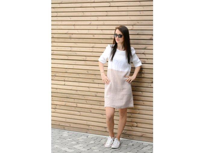 Šaty Katka 100% len - bílo-starorůžová