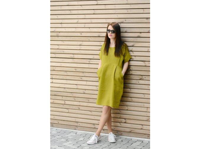 Šaty Martina 100% len - olivově zelená