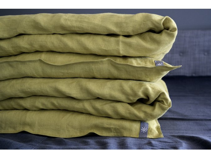 Velká sada povlečení na jednolůžko 100% len - olivová (IKEA VELIKOST)
