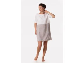 Šaty Katka 100% len - šedo-bílá