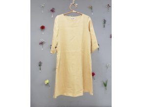 Šaty Jana 100% len - pastelová žlutá