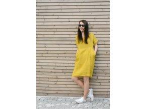 Šaty Martina 100% len - žlutá