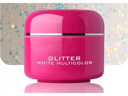 Barevný gel white multicolor glitter 5 ml
