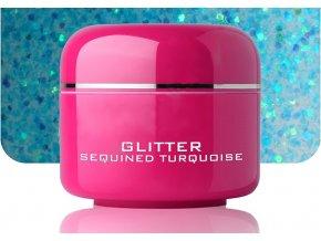 Barevný gel sequined turquoise glitter 5 ml