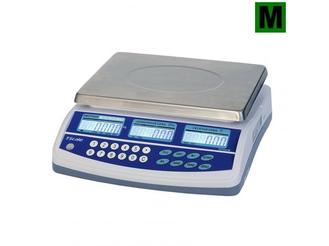 TSCALE QTP, 6/15kg, 300mmx230mm  Obchodní pultová váha s výpočtem ceny v nízkém provedení