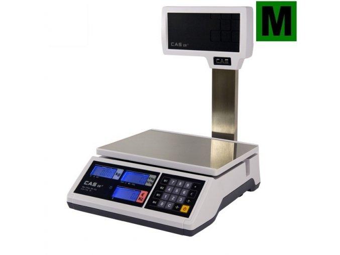 CAS ER Junior 15P, 6;15kg/2;5g, 290x209mm  Obchodní pultová váha s výpočtem ceny a displejem na nožce