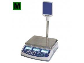 TSCALE QSP, 6/15kg, 300mmx230mm  Obchodní pultová váha s výpočtem ceny a displejem na stativu
