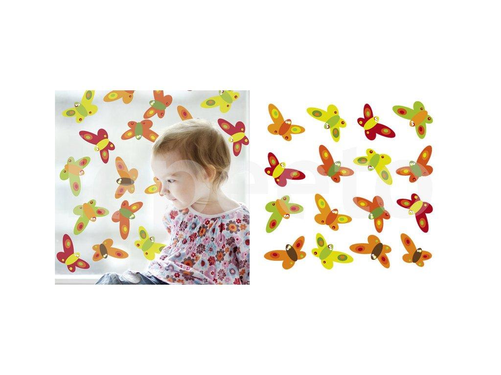Motýlí třepotání ORANGE -  samolepky na okno - permanentní