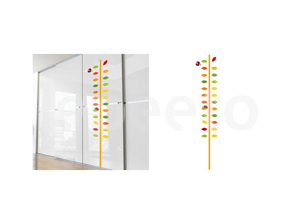 Barevný samolepicí metr na zeď ORANGE - Lístky to pohlídají za vás