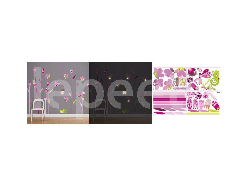 Světlušky a chameleon PINK - zvýhodněný balíček - samolepky na zeď