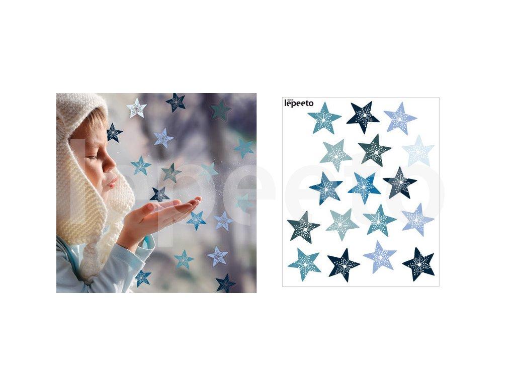 Hvězdy s vločkou uprostřed - samolepky na okno - přelepovací