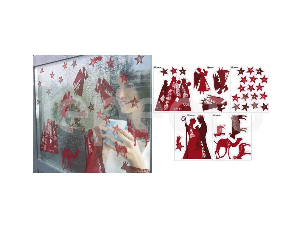 Červený Betlém - sada přelepovacích nálepek na okno