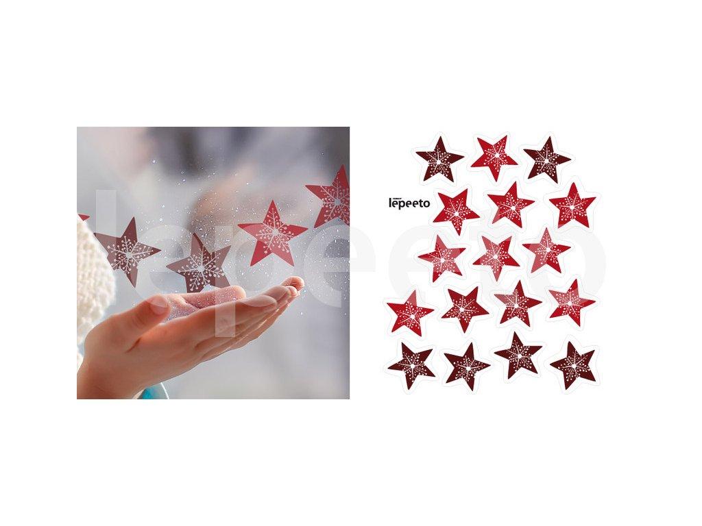 Hvězdy s vločkou uprostřed - červené - samolepky na okno - přelepovací
