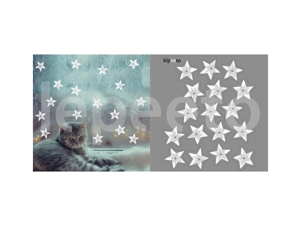 Hvězdy s vločkou uprostřed bílá - přelepovací samolepky na okno