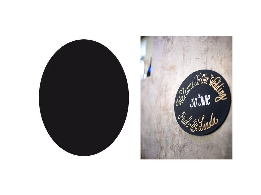 Ovál - plastová černá tabule - křídový fix zdarma