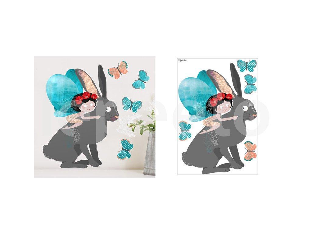 Zajíc - samolepky na stěnu z kolekce Z mechu