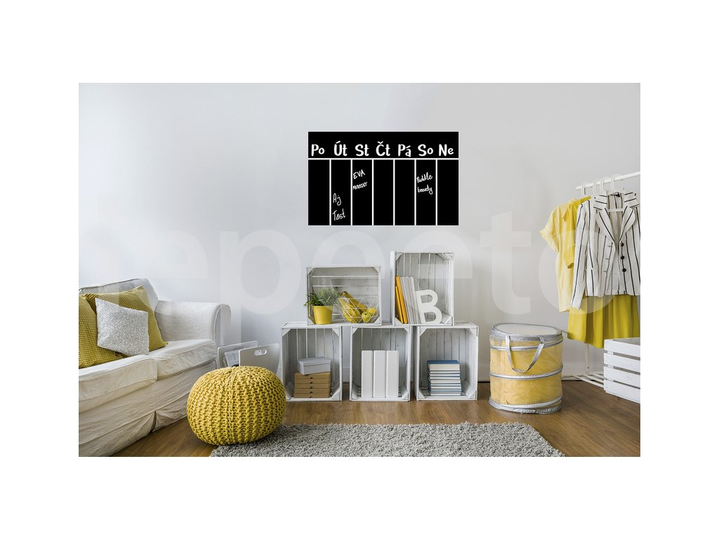 Kalendář - tabulová samolepka 67 x 100 cm a bílý křídový fix
