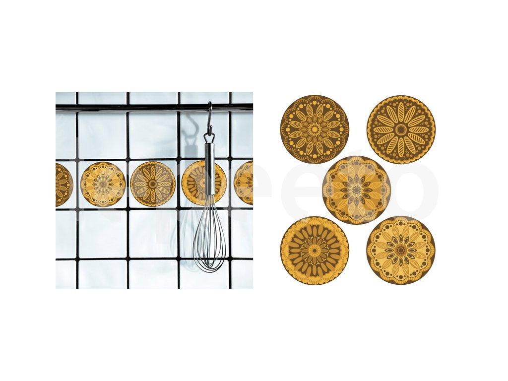 Dlaždičkové puntíky s nádechem Orientu žluté - samolepky na dlaždičky