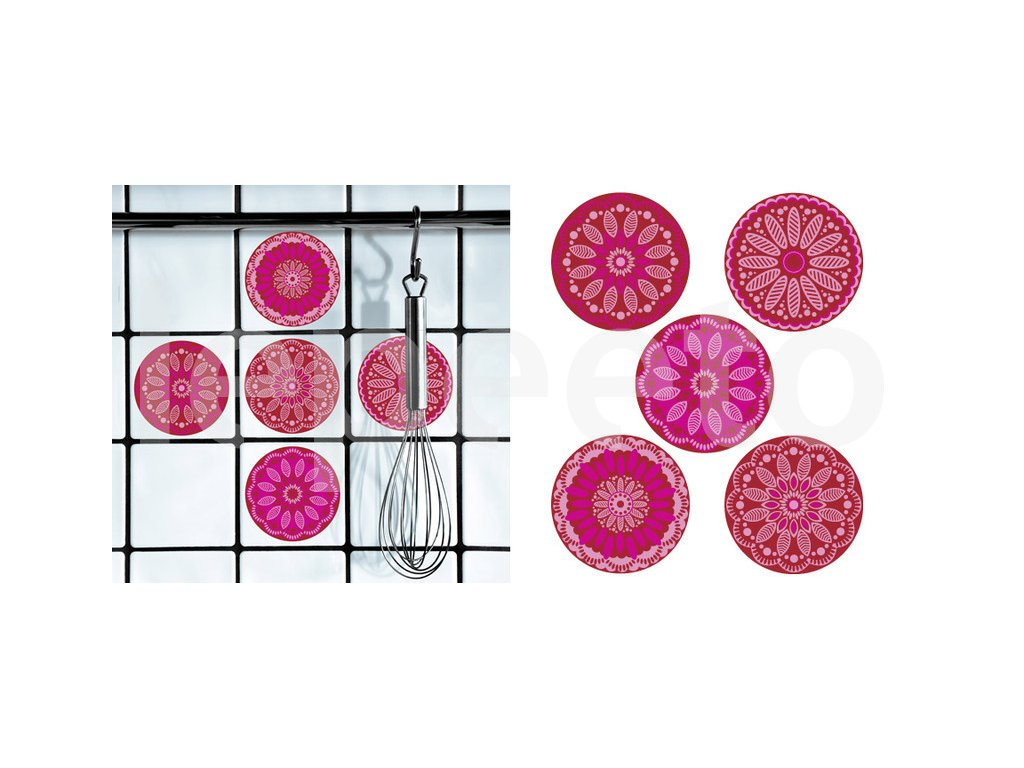 Dlaždičkové puntíky s nádechem Orientu magenta - samolepky na dlaždičky