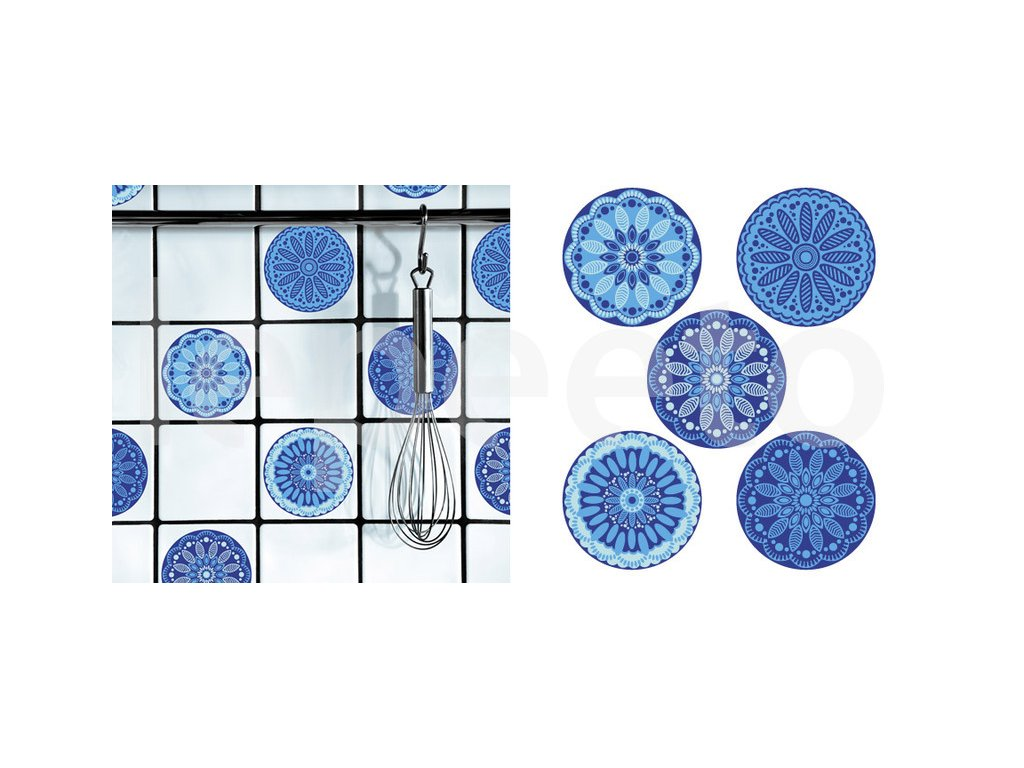 Dlaždičkové puntíky s nádechem Orientu modré - samolepky na dlaždičky