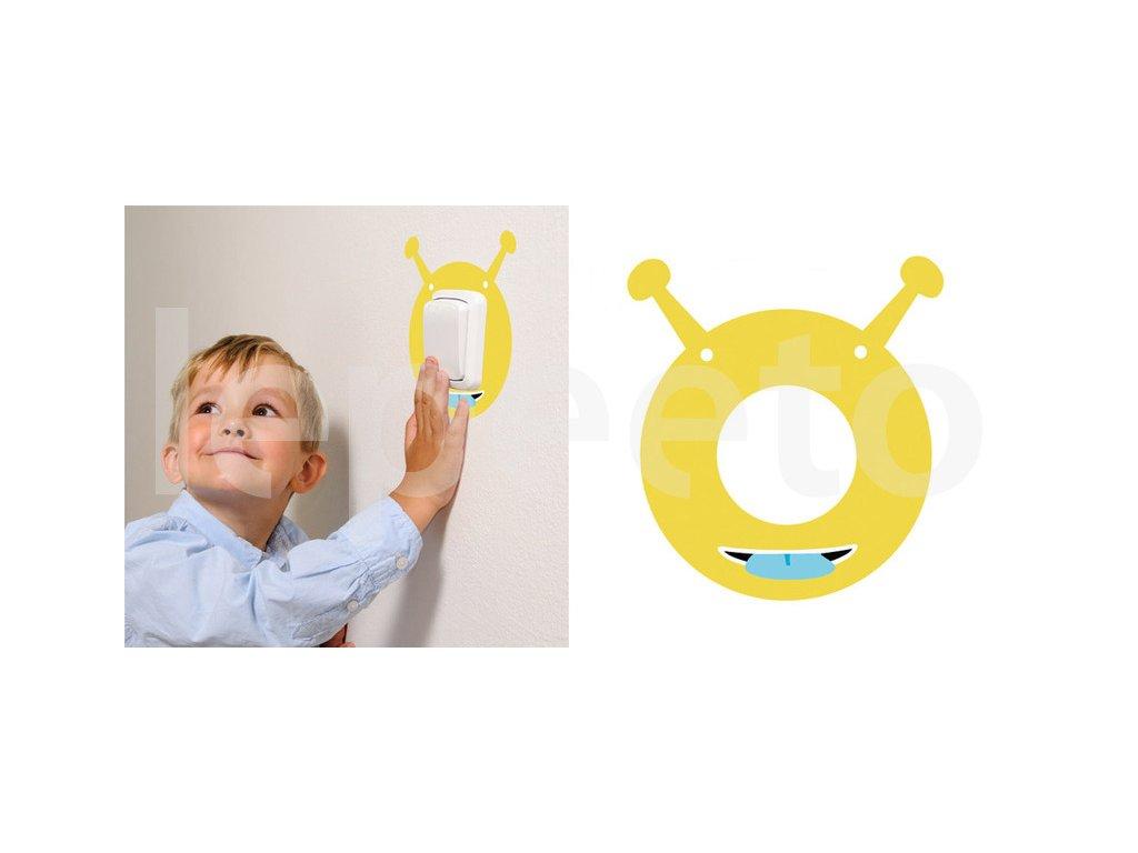 Ufonek žlutý - samolepka pod vypínač - na zeď