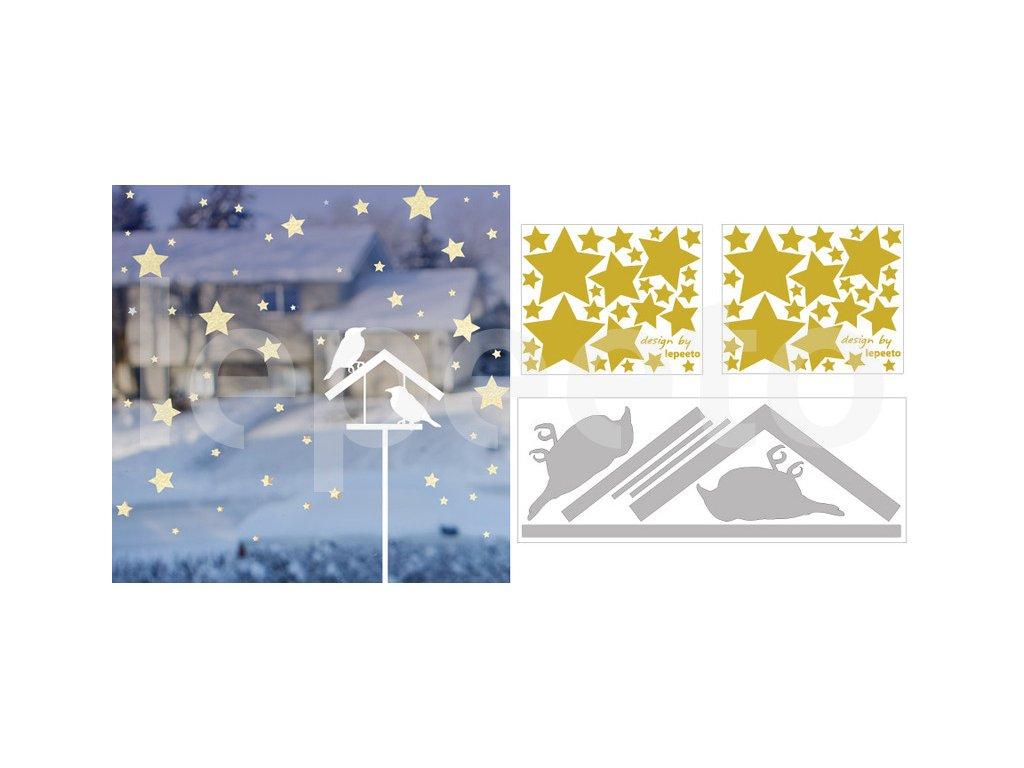 Vánoční noc nad krmítkem - zvýhodněný balíček -  arch hvězdiček zdarma - permanentní nálepka na okno i zeď