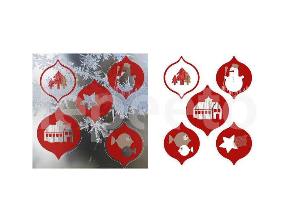 Vánoční ozdoby - baňky - přelepovací samolepky na okno - červené